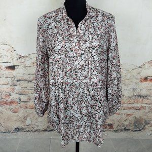 Ralph Lauren XL Black Pink Floral Cotton Silk Top